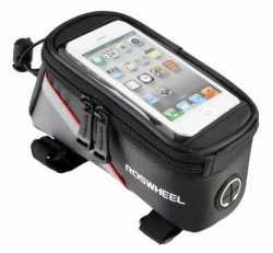 """Сумка на раму під смартфон Roswheel 6.5"""" 12496L-C5 чорний/червоний."""