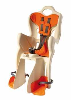 Сиденье задн. Bellelli Pepe Сlamp (на багажник) до 22кг, бежевое с оранжевой подкладкой.