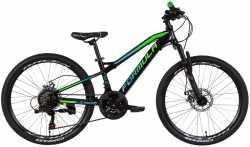 """Велосипед 24"""" Formula BLACKWOOD 1.0 AM DD 12,5"""" чорно-зелений із синім 2021."""