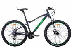 """Велосипед Leon XC-90 AM DD 27.5"""" графітовий з зеленим 16.5"""" 2021"""