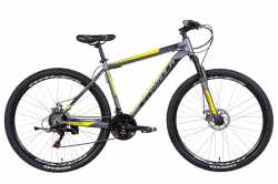"Велосипед 29"" Formula MOTION AM DD 19"" сріблясто-чорна з жовтим 2021."